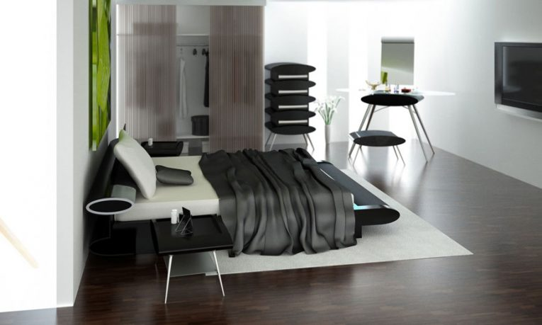 Modern Bedroom with LCD TV