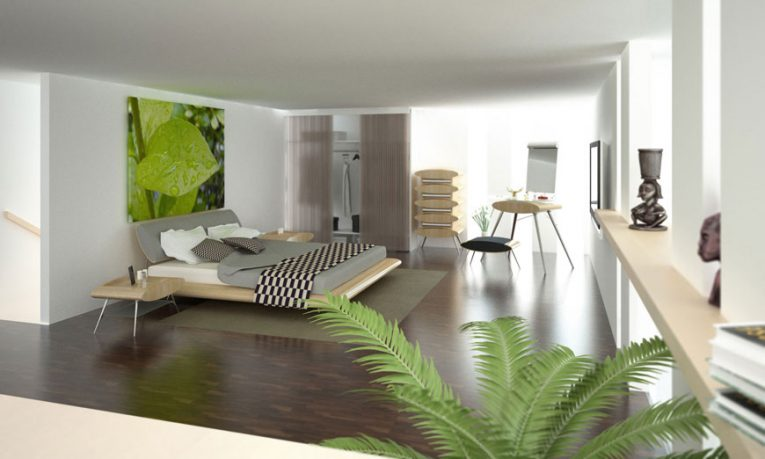 Modern Bedrooms with Plant make Natural