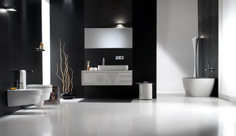 Modern Black Bathroom with White Floor and Accessories