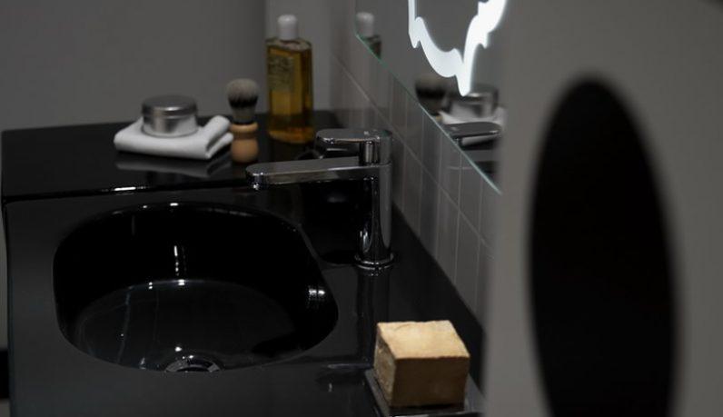 Modern Black Ceramic Sink Detail Pict