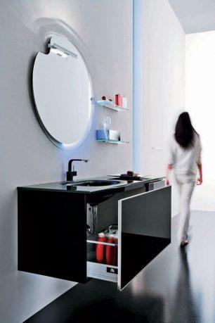 Modern Black Sink Design with Built in Sliding Storage