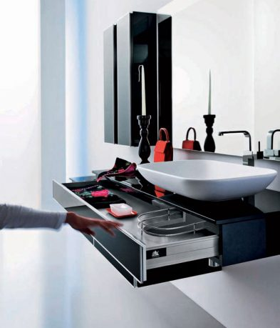 Modern Black Sink Design with Built in Storage Under it