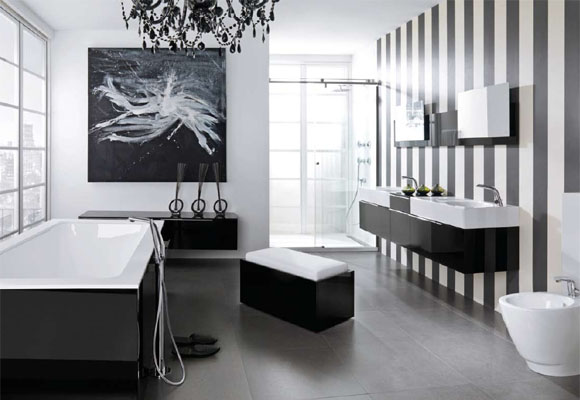 Modern Black and White Bathroom Inspirations with Striped Wall