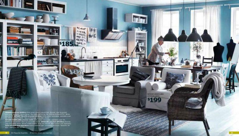 Modern IKEA Blue Living Room Area