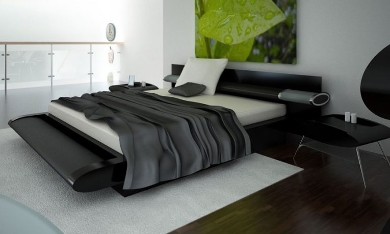 Modern and Elegant Black Bedroom with White Rugs