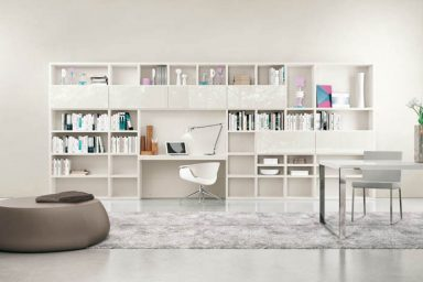 Modern and Minimalist White Shelves in Work Space