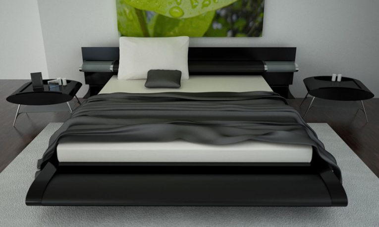 Modern and Stylish Black and White Bed Design