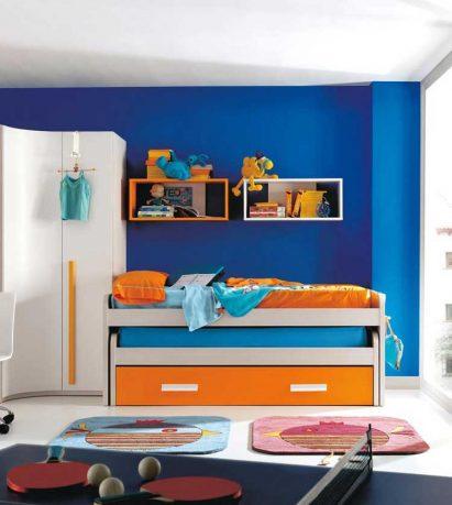Orange and Blue Sliding Bed for Kids