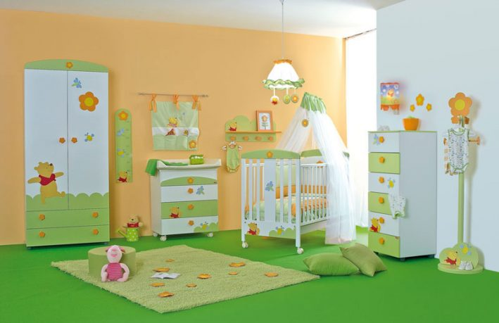 Orange and Green Girls Room with Winnie the Pooh Decorations