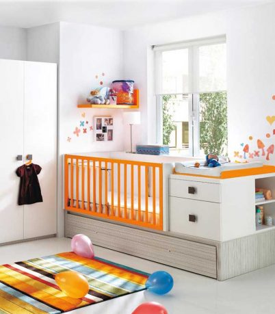 Orange and White Baby Crib from Kibuc