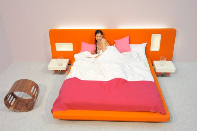 Pink and Orange Color Girly Bedroom