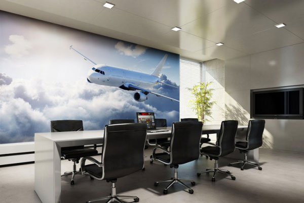 Plane in the Sky Photos Wallpaper Deor for Meeting Room