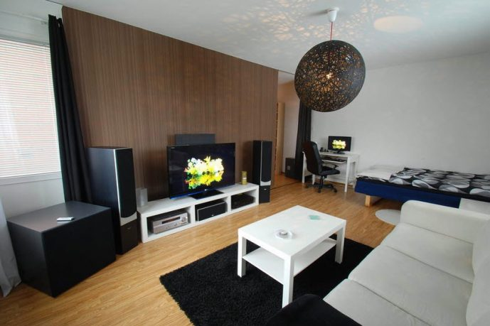 Private Multimedia Living Room Set with Dico Lamp Decor