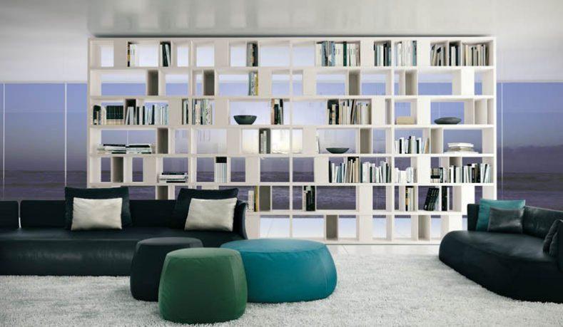 Shelves Open Pockets White with Elegant Black Sofa