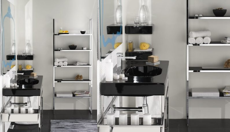 Simple Black and White Bathroom Design with Stainless Stell Storage