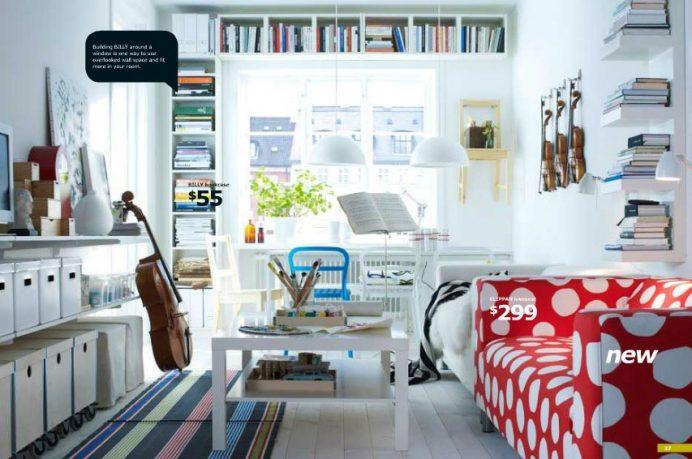 White IKEA Living Room with Polkadot Sofa Design