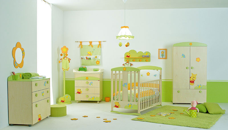 Winnie the Pooh Baby Nursery Room Decor with Flower Mirror Frame