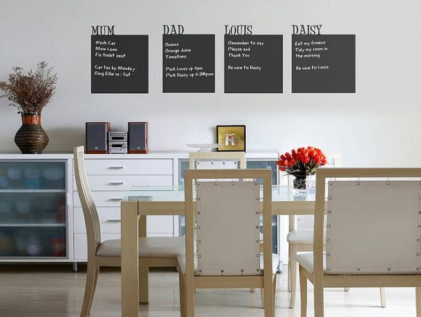 Awesome Wall Stick Chalkboards in Dining Room Design