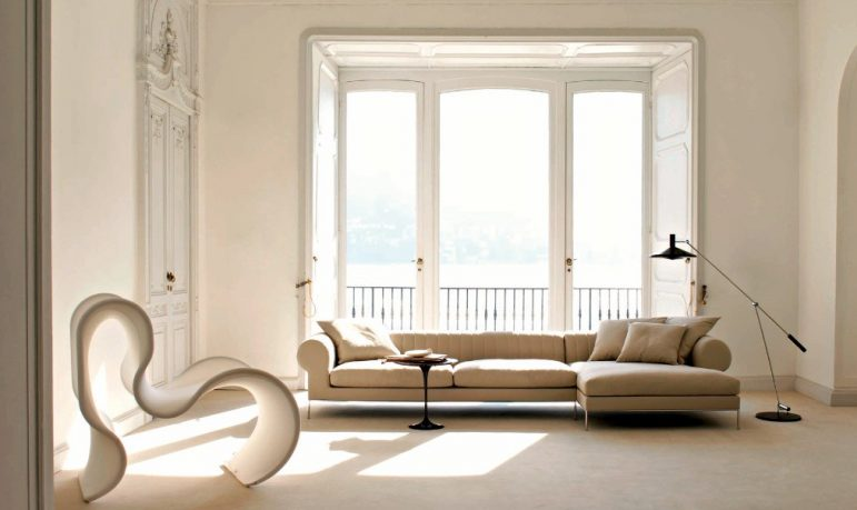 Beige and Bright Living Room with Terrace