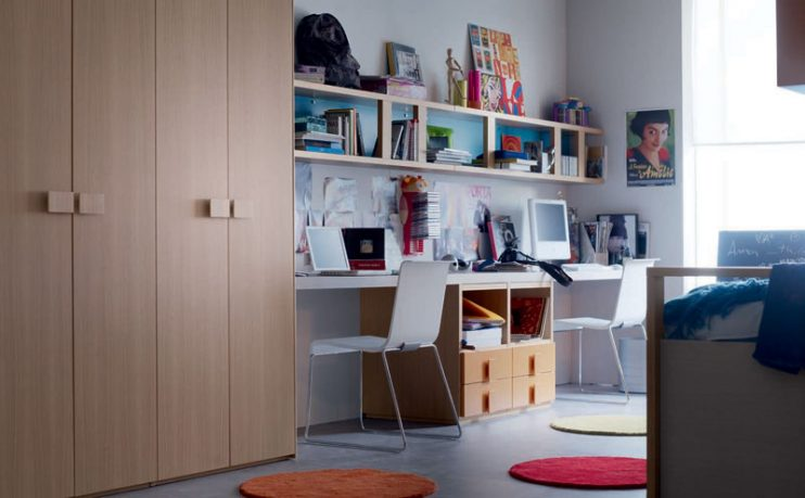 Double Study Desk and Computer Design for Kids
