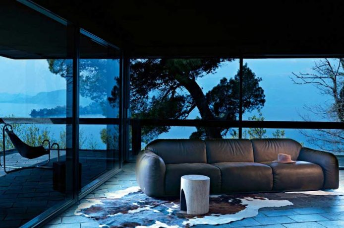 Exotic Brown Couch and Cowhide Rug with Terrace