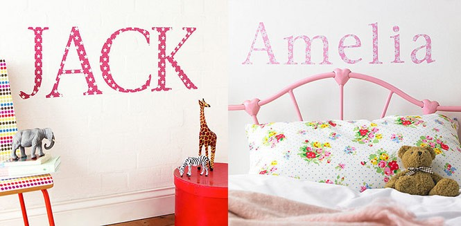 Funy Wall Sticker Names in Kids Room