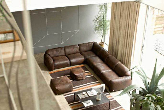 Luxury Brown and Beige Leather Sofas