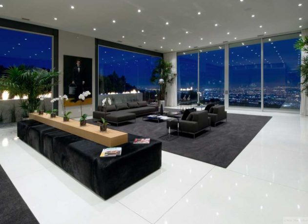 Luxury Living Room with Large Glass Wall Ideas