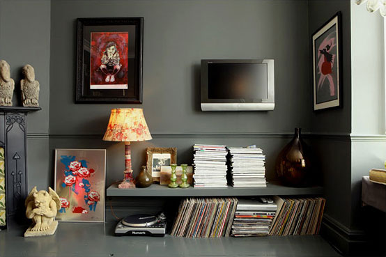 Modern Dark Living Room with DJ Console Portable and LCD TV