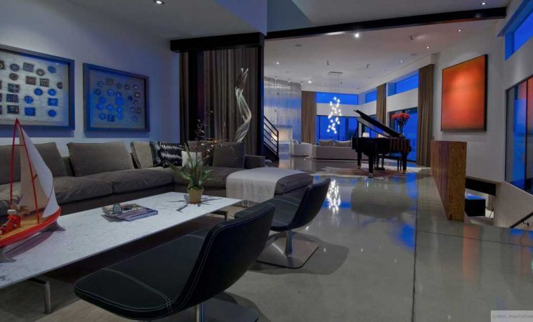 Modern Family Room with Piano