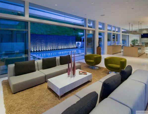 Modern Living Room Besides The Pool