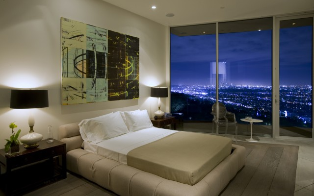 Modern and Neutral Bedroom with Night View