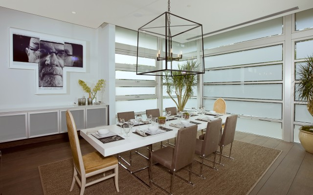 Neutral Modern Dining Room with Chandelier