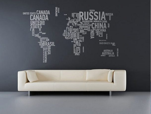 New Wall Sticker World Map in Grey Wall Color