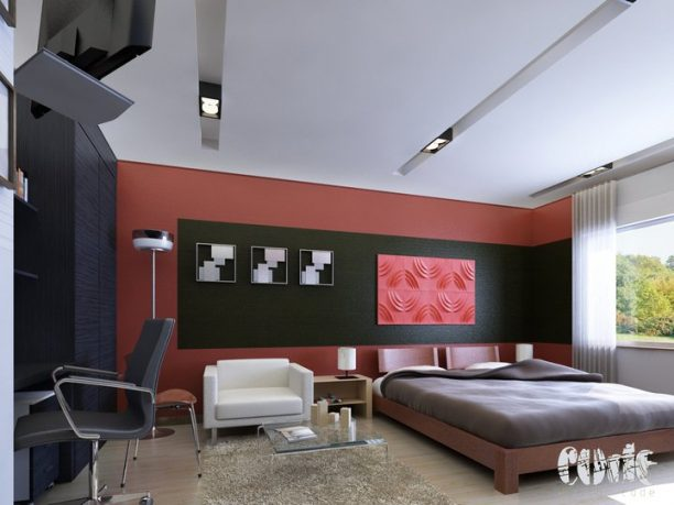 Rendering Interior Design Bedroom with Red and Black color