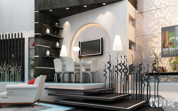 Rendering Interior Living Room and Dining Room in One Space