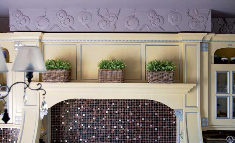 Tiles Wall Decorating Living Room with flower Vase on Wall