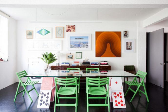 Unique Poker Cards Dining Table Aparment with Green Cairs