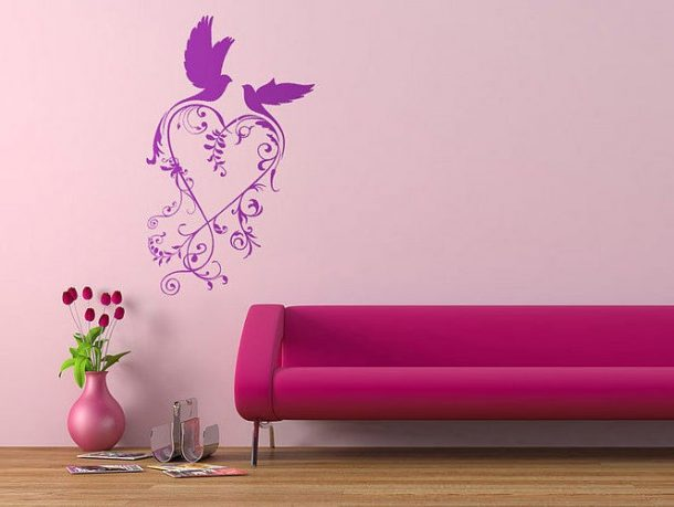 Wall Sticker Purple Birds with Pink Sofa