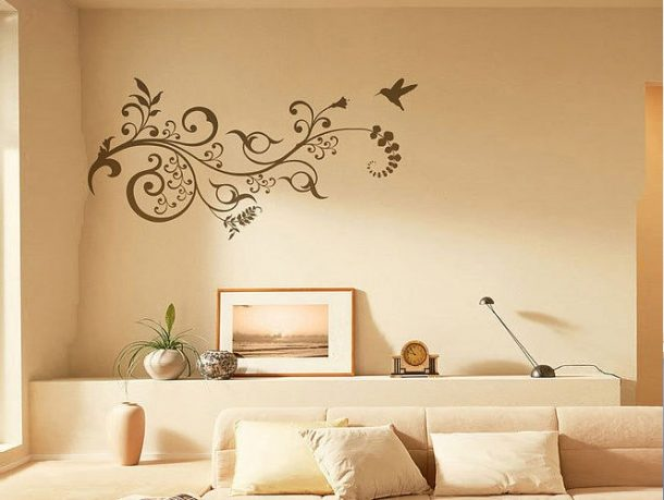 Wall Stickers Floral Motif in Cream Room