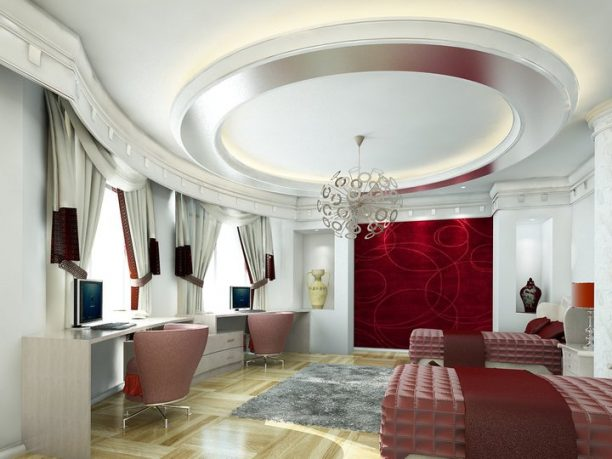 White Bedroom with Circular Ceiling and Red Wall Accent Rendering