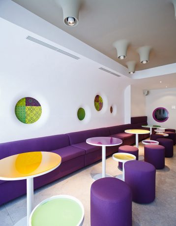 Beautiful Cafe Design with Dominant Purple Color