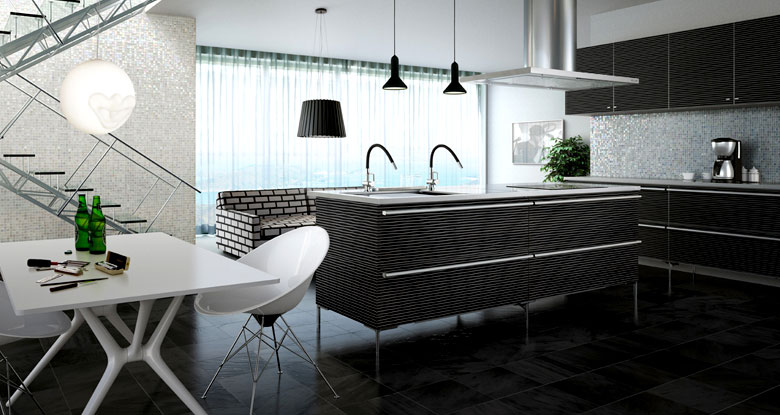 Black and White Modern Kitchen Patterns