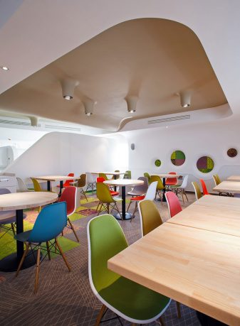 Colorful Cafe dining Space