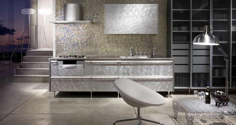 Luxury White Kitchen with Wall Tile Decor