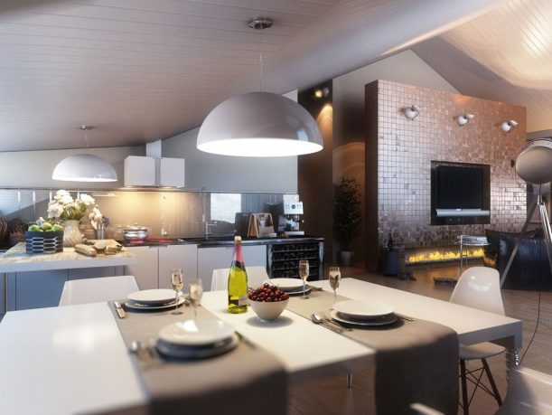 Modern White Dining Area with Kitchen in One Space