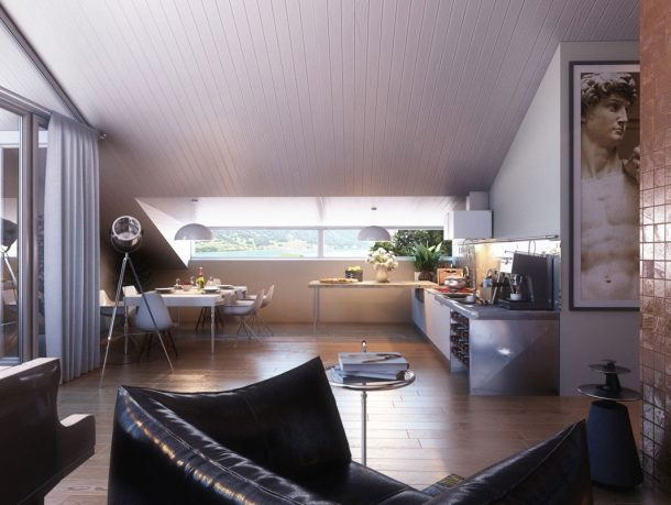 Open Kitchen Dining Area with Black Leather Sofa