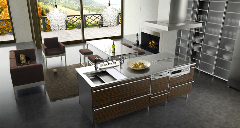 Open Kitchen Living with Fireplace