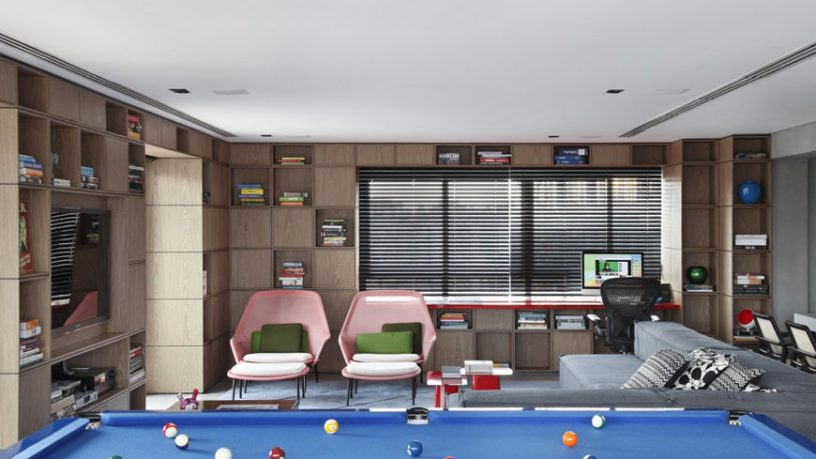 The Blue Pool Table in Work Space