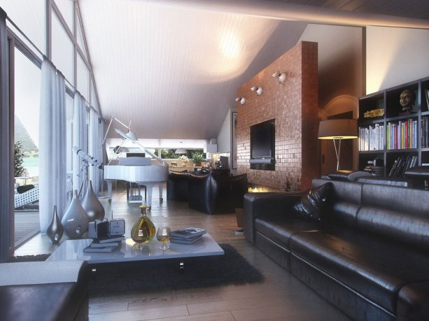 The Living Room Overall with Glass Wall and Long Black Leather Sofas